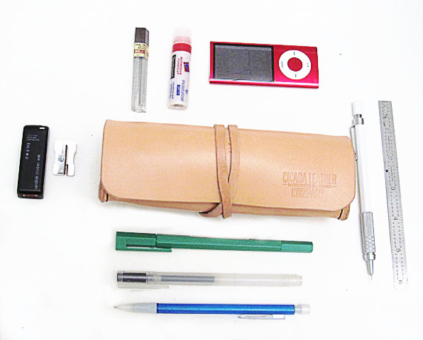 Cicada Leather Company - Leather Pencil Case Neatly Organized
