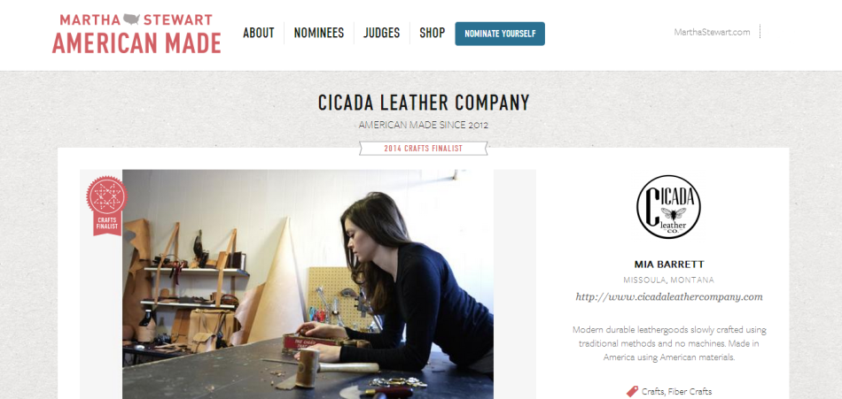 Cicada Leather Company _ 2014 Martha Stewart American Made Awards Nominee _ Finalist Mart
